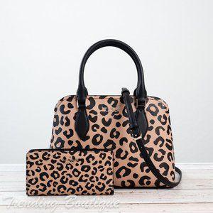 NWT Kate Spade Darcy Leopard Satchel & Wallet SET